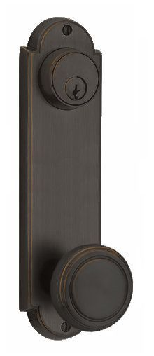 Emtek 8997US10B Oil Rubbed Bronze Delaware Series Double Cylinder Keyed Entry Set with 9 Inch Tall Backplate From the American Classic Collection - Handlesets.com