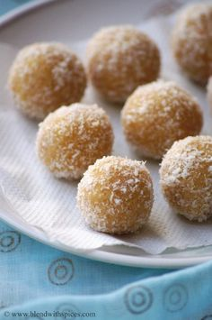 Indian Cuisine: Khoya Coconut Jaggery Laddu Recipe - Step by Step Recipe - Holi Special Recipes Easy Indian Sweet Recipes, Indian Dessert Recipes, Indian Sweets, Indian Recipes, Indian Snacks, Khoya Recipe, Laddoo Recipe, Holi Recipes, Sweets Recipes