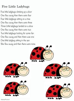 Ladybugs Lesson Plan Theme - preschool ladybug unit ideas within it. There is one complete theme, songs, finger plays, art project ideas, science and more. Kindergarten Songs, Preschool Music, Preschool Lessons, Preschool Activities, Spring Songs For Preschool, Number Songs For Preschool, Circle Time Ideas For Preschool, Preschool Poems, Circle Time Activities