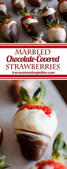 Marbled Chocolate Covered Strawberries - Beautiful Life and Home - Learn how to make gorgeous Marbled Chocolate Covered Strawberries in this easy tutorial with step-by-step pictures. Perfect for Mother's Day, weddings, and as cupcake toppers! Easy Gluten Free Desserts, Easy Desserts, Delicious Desserts, Homemade Desserts, Mini Desserts, Yummy Treats, Sweet Treats, Cheesecake Oreo, Cheesecake Recipes