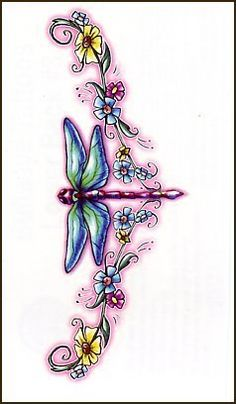 "DragonFly With Blue & Green Flowers Temporaray Tattoo by Tattoo Fun. $4.95. This 3 1/2"" X 1 1/2"" is a perfect lower back piece. The colors are soft and whimsical. The dragonfly in the middle is such a cute center piece."
