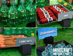 "Minecraft Birthday Party - small sprite bottles with ""Creeper Juice"" or ""Creeper Soda"" wraps on them."