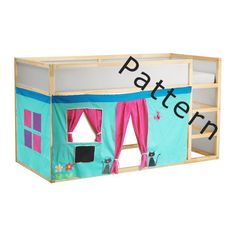 Bed Playhouse Pattern / US size Kura bed playhouse / Bed curtain pattern Bunk Bed Playhouse, Bunk Beds, Bunk Bed Tent, Playhouses For Sale, Loft Bed Curtains, Ideas Habitaciones, Ikea Kura Bed, Curtain Patterns, House Beds
