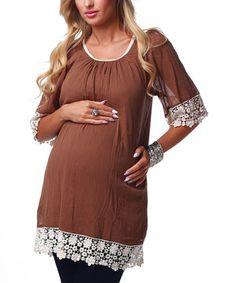 Look what I found on #zulily! PinkBlush Maternity Mocha Lace Trim Maternity Tunic - Women by PinkBlush Maternity #zulilyfinds