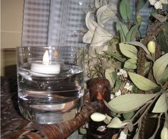A battery operated t-lite candle or a regular wax candle sets inside a glass floating holder