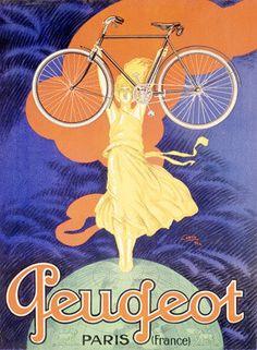 Peugeot Bicycle Paris Ad Fine Art Print