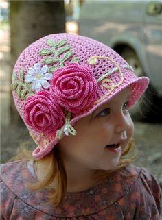 DIY Crochet Pretty Panama Hat for Girls