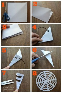 These paper spider webs are SO EASY to make and they look amazing! This is such an awesome homemade Halloween decoration! And its such a great Halloween craft to make with the kids. I love the pipe cleaner spider! Halloween Arts And Crafts, Halloween Decorations For Kids, Halloween Crafts For Toddlers, Halloween Activities, Halloween Party Decor, Holiday Crafts, Happy Halloween, Origami Halloween, Halloween Displays