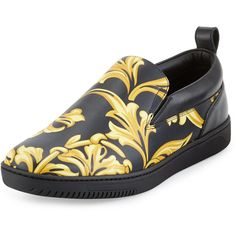 Versace Barocco Men's Leather Skate Shoe (€740) ❤ liked on Polyvore featuring men's fashion, men's shoes, men's sneakers, mens sneakers, mens leopard print shoes, mens black shoes, mens leather skate shoes and mens shoes