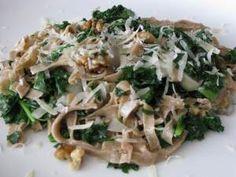Whole Grain Tagliatelle with Kale, Walnuts and Black Truffle Oil