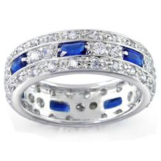Sterling Silver Blue Sapphire CZ Emerald Cut Pave Eternity Band Ring