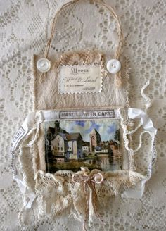 French wall pocket for mail or flowers.  Small book inside