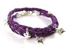Pulseira entrançada 2 voltas c/ berloques coração -  Suedette & Chain Friendship Bracelet-loja Spoiltrottenbeads.co.uk