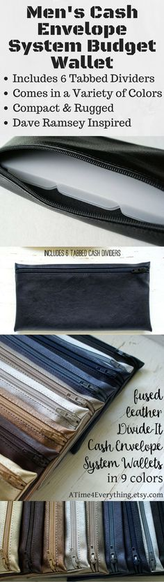 This men's cash envelope system budget wallet made of black faux fused leather was created specifically for men, but women are welcome to purchase as well, of course! Many spouses may find themselves sharing one since it's a great gender-neutral wallet to