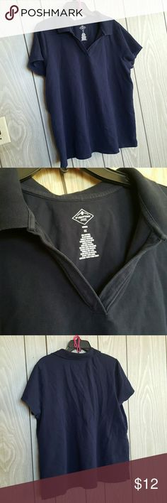 St. John's Bay Plus Size V-neck Polo It is a dark navy blue color and is a 1X. The neck does not button up it is just a fancy V-neck Polo tee made of 98% cotton and 2% Spandex. I am selling for a friend who is in a tight money situation and I will definitely consider offers. St. John's Bay Tops
