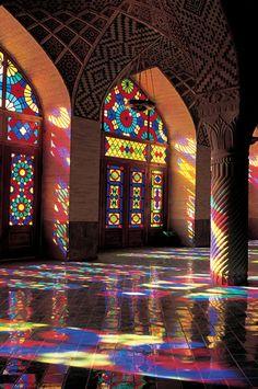 Majestic Persian architecture at Nasir al molk mosque, Shiraz, Iran