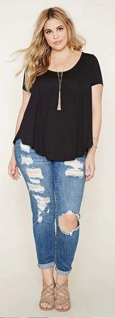 awesome Forever 21 - FOREVER 21+ plus size scoop-neck tee by http://www.dezdemonfashiontrends.xyz/plus-sizes-fashion/forever-21-forever-21-plus-size-scoop-neck-tee-2/