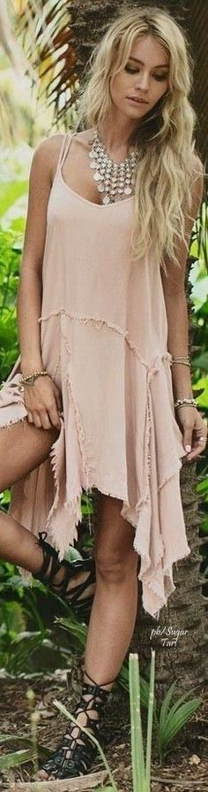 #boho #fashion #spring #outfitideas  Hippie nude vacation dress                                                                             Source
