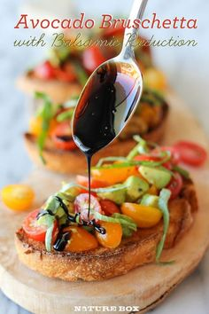 Balsamic Bruschetta Reduction   1/2 cup balsamic vinegar 1 tablespoon brown sugar 1 baguette, thinly sliced 1/4 cup olive oil, divided 2 cups grape tomatoes, halved 1 avoca...