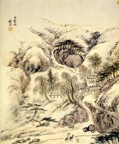 (Korea) Baekun-dong from album of the eight scenes of Jangdong, 1749 by Jeong Seon light colors on silk. Asian Artwork, Korean Painting, Traditional Japanese Art, Modern Pictures, Korean Art, Chinese Art, Vintage World Maps, Oriental, Folk