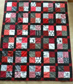 "Creative Expressions: Red & Black Quilt. 5"" for 4 patches, sashing 2 1/2"" wide"