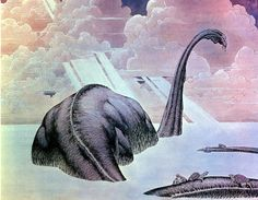 BRUDE'S WORLD : Diplodocus with Turtles by Bernie Wrightson, 1977