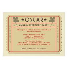Movie Ticket Oscar Award Ceremony Party Invitation