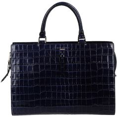 ROCHAS Handbag ($820) ❤ liked on Polyvore featuring bags, handbags, purses, dark blue, croc handbags, blue handbags, croc leather handbags, crocodile leather handbags and real leather handbags