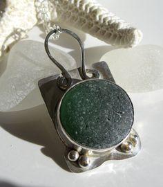 Forest Green English Sea Glass Bezel Pendant Sea Glass Jewelry N-138