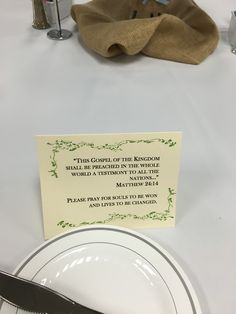 Havard President's Luncheon 2016- A scripture card with a special prayer request for the Havard Campus of Southwestern
