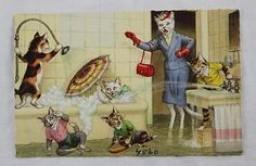 Vintage Alfred Mainzer Postcard Dressed Cats Mom & Bathtub Kids #4860