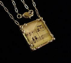 Sheet music notes art glass soldered pendant necklace by Dishfunctional Designs.  http://www.etsy.com/shop/dishfunctionldesigns?ref=si_shop