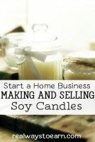 This post has some information on getting started making and selling soy candles from your home. This is a relatively inexpensive home business you can start, and just about anyone can learn to make soy candles.