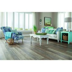 Bathroom/Kitchen Floor: Shop STAINMASTER 10-Piece 5.74-in x 47.74-in Washed Oak Dove Gray Floating Rustic Luxury Vinyl Planks at Lowes.com