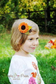 Flores pelo Clip - marrón anaranjado - Daisy pelo Clip - girasol - otoño otoño pelo Clip - Clip de pelo de las niñas - lana fieltro - fotos Prop