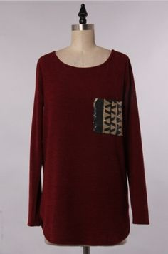 Solid Sweater with Sequin Patch Pocket, $28.00