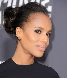 Whether it's an afternoon of errands, a post-swim BBQ, or a low-key day at the office, Kerry Washington's messy bun is an easy way to look polished. Leave the edges a little loose, and let a few ends slip out to prevent it from looking too stuffy.