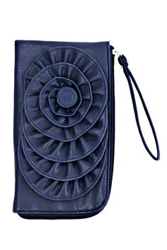 """From Bossani, we have this beautiful blue floral clutch purse wristlet.  Measures 8 1/2"""" x 5"""" with zip closure.   The perfect Spring accessory!   On the 3-day sale this clutch is only $9.99!   Sale ends 11:59pm, CST, 2/8/2014.  Normal retail is $16.99. Don't miss this one!    Brought to you..."""