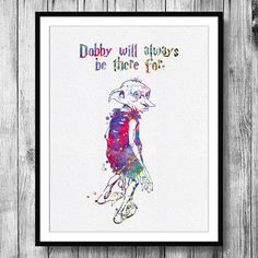 Instant Download Dobby Quote from Harry Potter Watercolor Art Digital Printable PNG JPEG Wall Art For