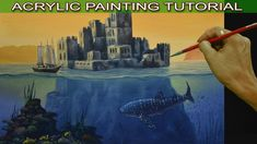 Acrylic Surreal Seascape Painting Tutorial with Castle, Sailing Ship and...