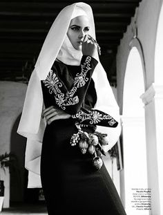 Giampaolo Sgura photographs Brazilian beauty Izabel Goulart whom poses gracefully as a nun for the Vogue Brazil february issue. Goulart is styled by Vogue Japan's Editor-at-Large Anna Dello Russo in Baroque pieces from Valentino, Emilio Pucci, Gareth Pugh and many others creating flirty looks against luxurious and decadent Gothic style of architecture.