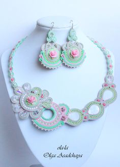 """collection of """"Tenderness"""" necklace and earrings """"Peppermint Rose"""" soutache, acrylic cameo, quartz, glass. Beads, beads, iznanka- tension. leather"""