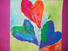 """Kindergartners learned about the art of Jim Dine in art class and used plasticine clay to """"paint"""" their hearts!"""