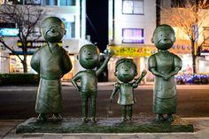 Sazae-San Statues at Sakura-Shinmachi Station