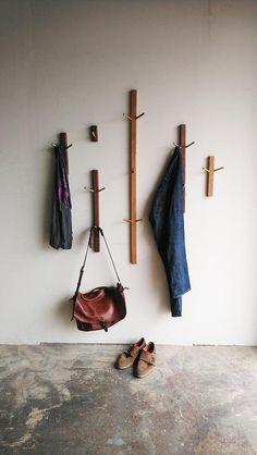 Wood and Brass Coat Rack Wall Hook Coat Hanger Minimalist Diy Coat Hooks, Modern Coat Hooks, Diy Hooks, Modern Wall Hooks, Bag Rack, Bag Hanger, Hanger Hooks, Hook Rack, Towel Hanger