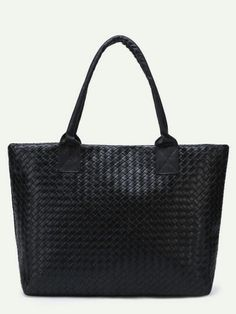 Black Woven PU Tote Bag — € --------------------------------color  Black  size  None 4b2887415f