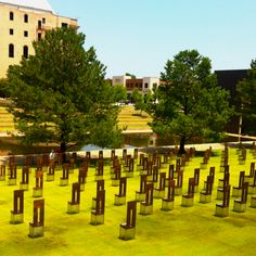 Memorial for the Oklahoma City bombing in The chairs represent the people killed, the little chairs are the children that went to the daycare in the building that was bombed. Oklahoma City Bombing Memorial, Norman Oklahoma, Political Events, Famous People, Chairs, Memories, History, Children, Building