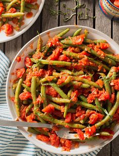 Italian Green Beans from Tuttorosso Tomatoes featuring our NEW Italian Inspirations flavored diced tomatoes made using premium ingredients. Beans Recipes, Green Bean Recipes, New Recipes, Whole Food Recipes, Vegetable Sides, Vegetable Recipes, Vegetarian Recipes, Steamed Vegetables, Veggies