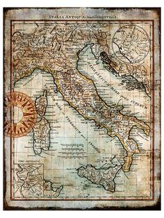 Mapa antigo de Itália
