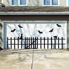 Bat and cat garage door design cat halloween crafts bat halloween decorations halloween crafts halloween ideas halloween decor bats halloween decoration outdoor halloween decor
